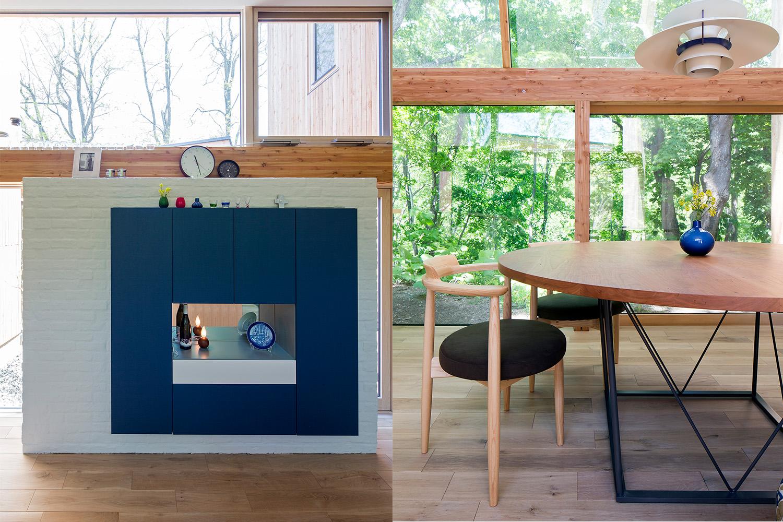 青い収納棚と丸テーブルがおしゃれな新築物件