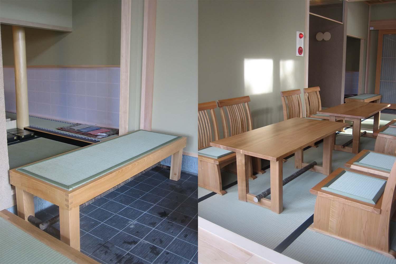 畳のベンチと畳の座椅子が置いてある旅館のロビー:澪工房