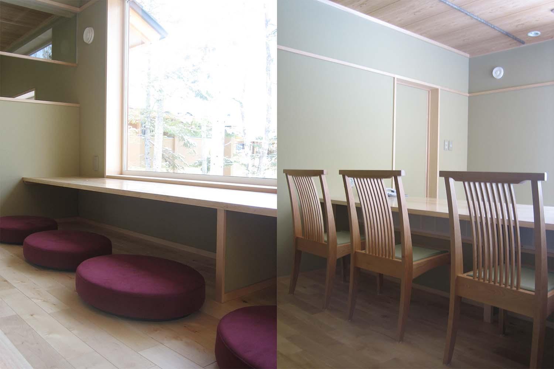 丸くて可愛い座椅子とサクラ材の椅子が置いてある旅館のラウンジ:澪工房