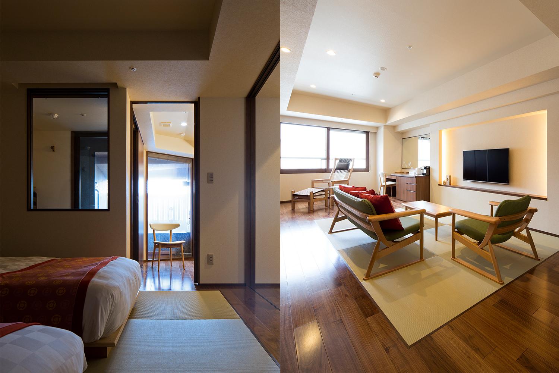 白いASARIチェアとグリーンのMAMEソファを置いてあるホテルの客室:澪工房