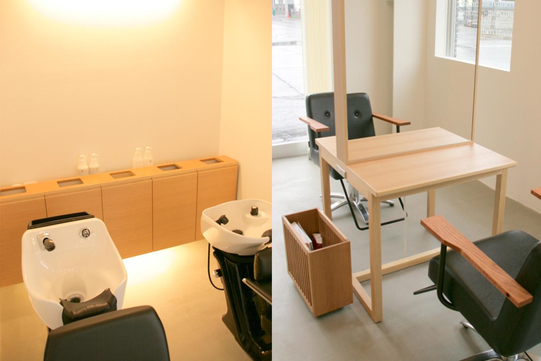 タモ材のミラーや収納がおしゃれな美容室:澪工房