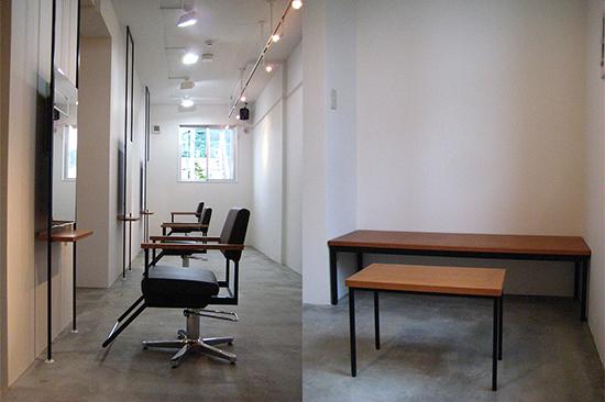モダンなカット椅子とベンチを置いている美容室:澪工房