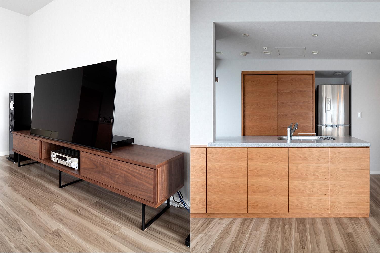 ウォルナット材のTVボードとチェリー材の収納棚が置いてあるマンション:澪工房