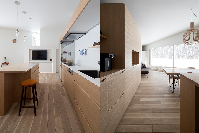 タモ材と人造大理石の白を使用したキッチンの住宅:澪工房