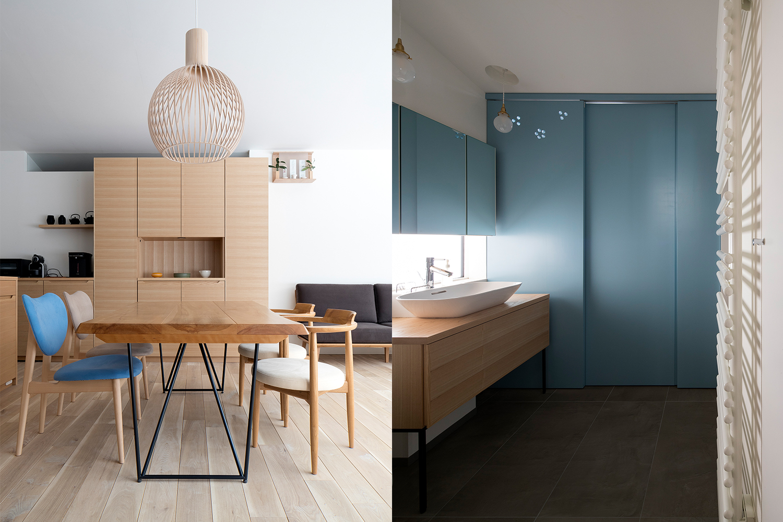 カバ材のダイニングテーブルと可愛いいイスとセクトデザインの照明がついてあるおしゃれな住宅:澪工房