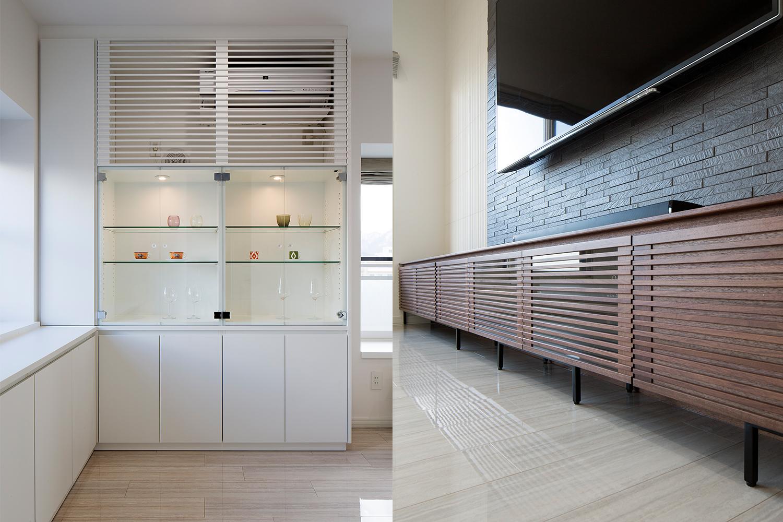 白い飾り棚とウォルナット材のTVボードを置いたリフォーム物件:澪工房