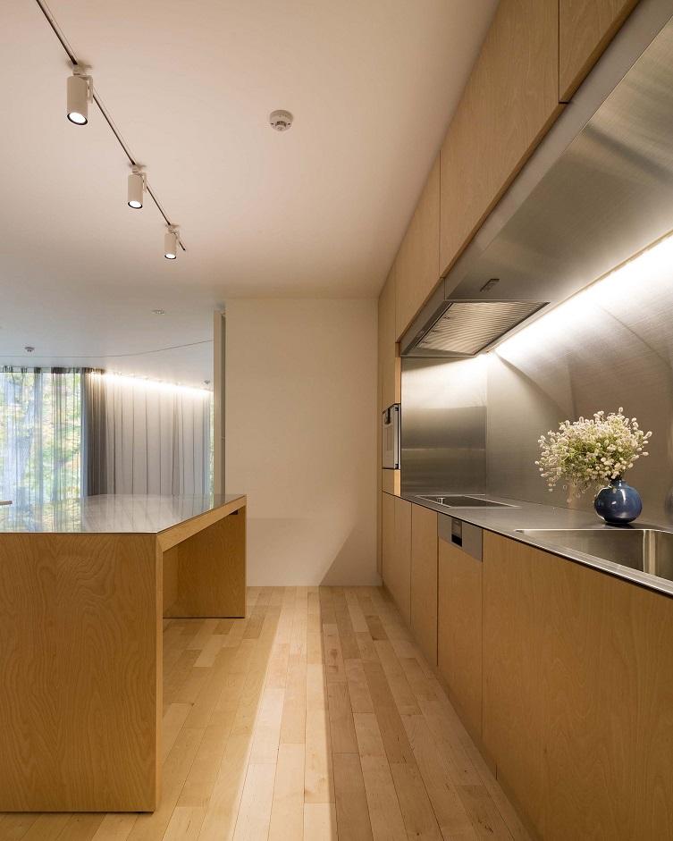 ステンレスとカバ材のキッチンを納めたゲストハウス