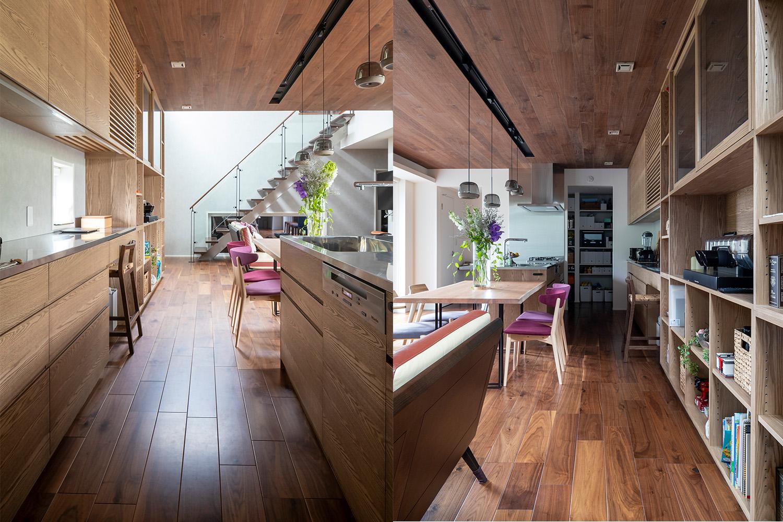 ウォルナット材の床材とタモ材のオーダーキッチンがおしゃれな新築物件