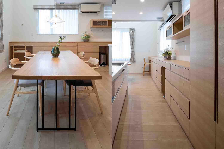 タモ材のキッチン収納棚とナラ材のダイニングテーブルが置かれたリフォーム物件:澪工房