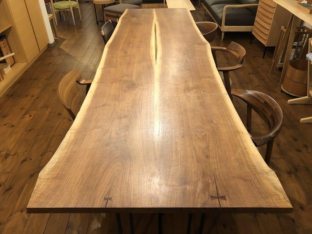 澪工房のウォルナット材ブックマッチテーブル