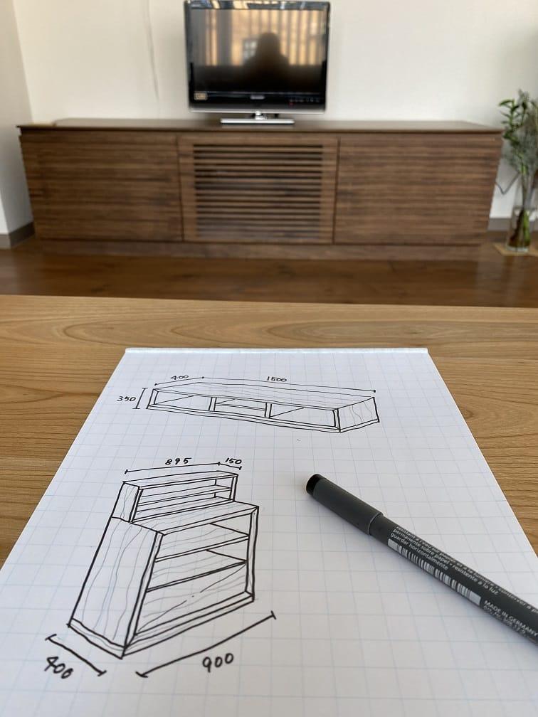 ご要望の家具のスケッチを描いてみました