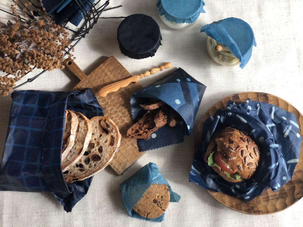 藍染風布 蜜蝋ラップ
