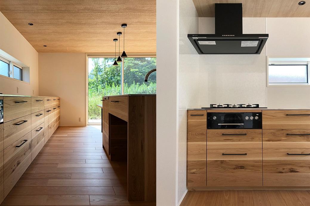 道産ナラ材の造作キッチン