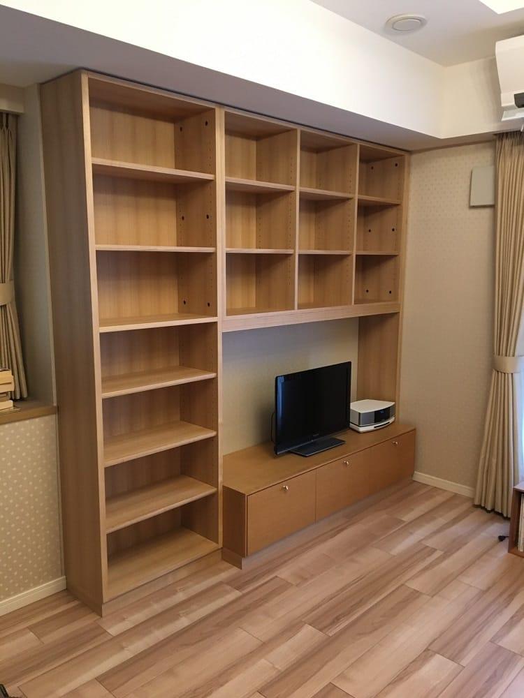 リビング用本棚 テレビボードと一体化